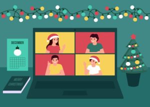 Cartoon holiday virtual conference