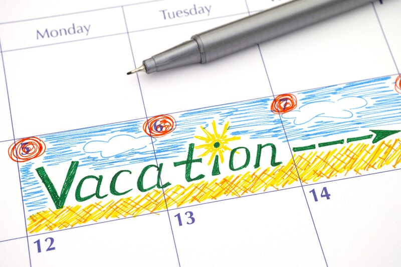 """Calendar with week labeled """"vacation"""""""