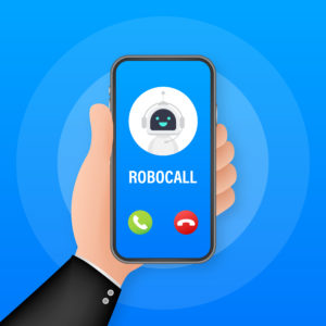 Business card with robo call. Mobile phone. Robo call. Cpam. Vector stock illustration